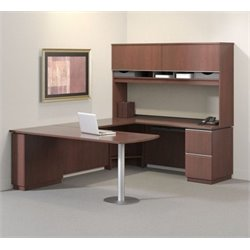 Bush BBF Milano2 72W LH Single Pedestal Bow Front Desk in Harvest Cherry