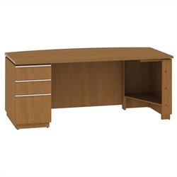 Bush BBF Milano2 72W LH Single Pedestal Bow Front Desk in Golden Anigre