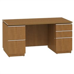 Bush BBF Milano2 60W Double Pedestal Desk 2Dwr and 3Dwr in Golden Anigre