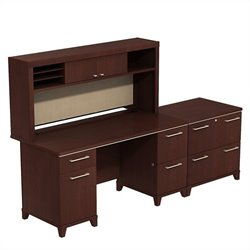 Bush Business Furniture Enterprise 3 Piece Office Set Harvest Cherry