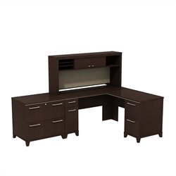 Bush Business Furniture Enterprise L Shaped Office Set Mocha Cherry