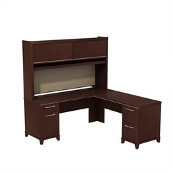 Bush BBF Enterprise 72W X 72D L-Desk with Hutch in Harvest Cherry
