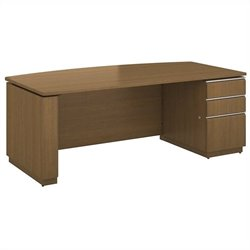 Bush BBF Milano2 72W x 36W Right-Handed Single Pedestal Bow Front Desk in Golden Anigre