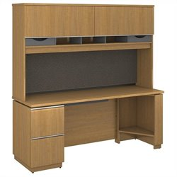 Bush BBF Milano2 72W x 24D Left-Handed Single Pedestal Credenza with Hutch in Golden Anigre