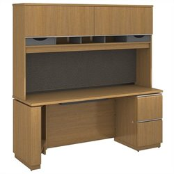 Bush BBF Milano2 72W x 24D Right-Handed Single Pedestal Credenza with Hutch in Golden Anigre