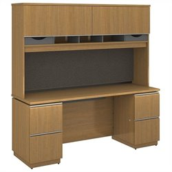 Bush BBF Milano2 72W x 24D Double Pedestal Credenza with Hutch in Golden Anigre