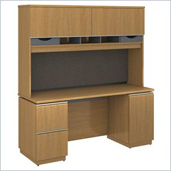 Bush BBF Milano2 66W x 24D Double Pedestal Credenza with Hutch in Golden Anigre
