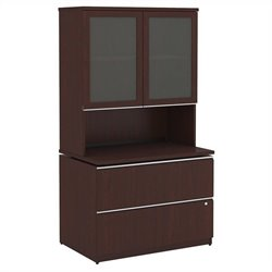Bush BBF Milano2 36W 2 Drawer File and Hutch with Doors in Harvest Cherry