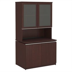 Bush BBF Milano2 36W Storage Cabinet and Hutch with Doors in Harvest Cherry