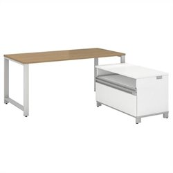 Bush BBF Momentum 60W X 30D Desk with 24H Piler Filer in Modern Cherry