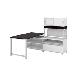 Momentum 60W X 30D Desk with 24H Open Storage 24H Piler Filer 36W Hutch with Doors and Riser