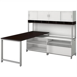 Momentum 72W X 30D Desk with 24H Open Storage 24H Piler Filer and 72W Hutch with Doors