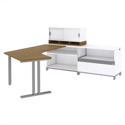 Bush BBF Momentum Right L-Shaped Desk with Storage in Modern Cherry