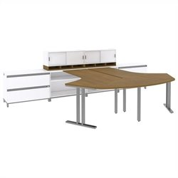 Bush BBF Momentum 2 Person Workstation with Storage in Modern Cherry