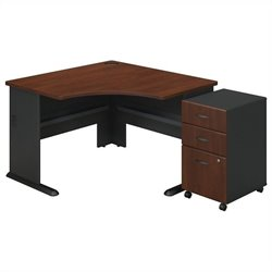 Bush BBF Series A Corner Desk with Pedestal in Hansen Cherry