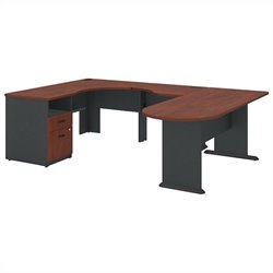 Bush BBF Series A Collection Expandable Corner Desk U-Station in Hansen Cherry