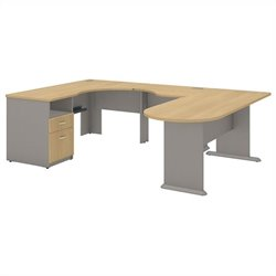 Bush BBF Series A Collection Expandable Corner Desk U-Station in Light Oak