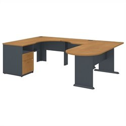 Bush BBF Series A Expandable U-Shaped Desk in Natural Cherry
