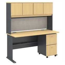 Series A Collection 60W x 27D Desk with Hutch and 2Dwr Mobile Pedestal