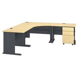 Bush BBF Series A Collection 84W x 84D Corner Workstation with 3Dwr File in Beech
