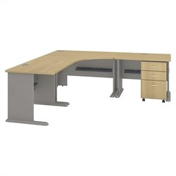 Bush BBF Series A Collection 84W x 84D Corner Workstation with 3Dwr File in Light Oak