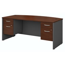 Bush BBF Series C Collection 72W X 36D Bow Front Desk with 2  Pedestals in Hansen Cherry