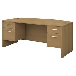 Bush BBF Series C Collection 72W X 36D Bow Front Desk with 2  Pedestals in Light Oak