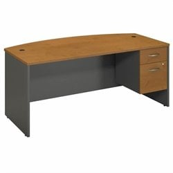 Series C Collection 72W X 36D Bow Front Desk with 2 Pedestals 1