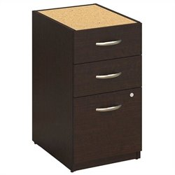 Bush BBF Series C Elite 16W 3 Drawer Pedestal in Mocha Cherry
