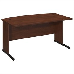 Bush BBF Series C Elite 60Wx36D C-Leg Bow Front Desk in Hansen Cherry