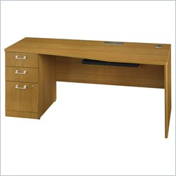 Bush BBF Quantum 72W LH Single Pedestal Desk 3Dwr in Modern Cherry