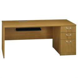 Bush BBF Quantum 72W RH Single Pedestal Credenza 3Dwr in Modern Cherry