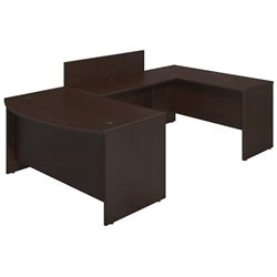 Bush BBF Series C Elite 60Wx36D Bow U Desk Office Set in Mocha Cherry