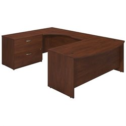 Bush BBF Series C Elite 72Wx36D Bow U Desk Office Set in Hansen Cherry