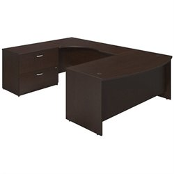 Bush BBF Series C Elite 72Wx36D Bow U Desk Office Set in Mocha Cherry