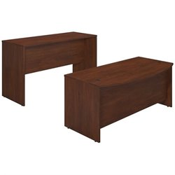 Series C Elite 72W x 36D Bowfront Desk Shell with Standing Height Credenza