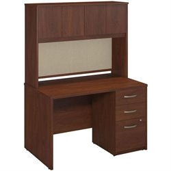 Bush BBF Series C Elite Computer Desk with Hutch in Hansen Cherry