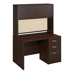 Bush BBF Series C Elite Computer Desk with Hutch in Mocha Cherry