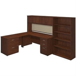 Bush BBF Series C Elite L Desk Office Set with Hutch in Hansen Cherry