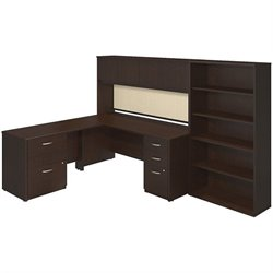 Bush BBF Series C Elite L Desk Office Set with Hutch in Mocha Cherry