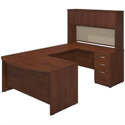 Bush BBF Series C Elite Bow Front U Desk Office Set in Hansen Cherry