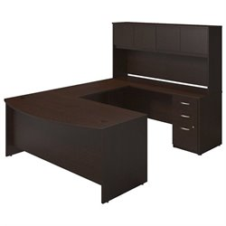 Bush BBF Series C Elite Bow Front U Desk Office Set in Mocha Cherry