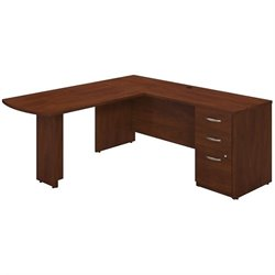 Bush BBF Series C Elite L Computer Desk with Storage in Hansen Cherry