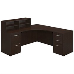 Bush BBF Series C Elite L Computer Desk with Storage in Mocha Cherry