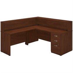Bush BBF Series C Elite 72W x 30D L Reception Desk in Hansen Cherry