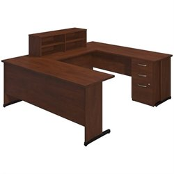 Bush BBF Series C Elite C Leg U Shape Desk Office Set in Hansen Cherry