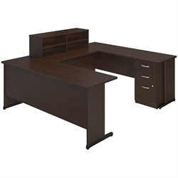 Bush BBF Series C Elite C Leg U Shape Desk Office Set in Mocha Cherry
