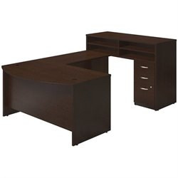 Bush BBF Series C Elite U Station Desk Office Set in Mocha Cherry
