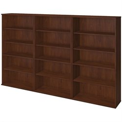 Bush BBF Series C Elite 66H 3 Piece Wall Bookcase Set in Hansen Cherry