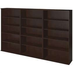 Bush BBF Series C Elite 66H 3 Piece Wall Bookcase Set in Mocha Cherry